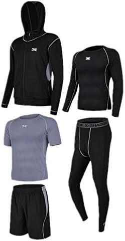 レディースジャージ上下セット 半袖Tシャツショーツ5ピースメンズスポーツフィットネススポーツスーツ付き長袖シャツタイトパンツ 吸汗 速乾 (Color : Black gray, Size : M)