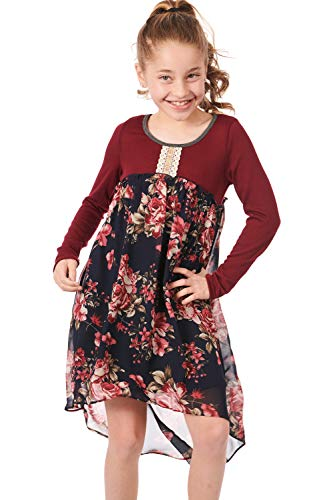 Truly Me, Girls' Long Sleeve Printed Empire Waist Dress with Embellishing, Size 7-16 (Burgundy Multi, 10) ()