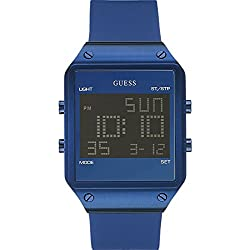 GUESS Men's W0595G2 Radar Iconic Blue Digital Watch with Blue Silicone/Rubber Strap