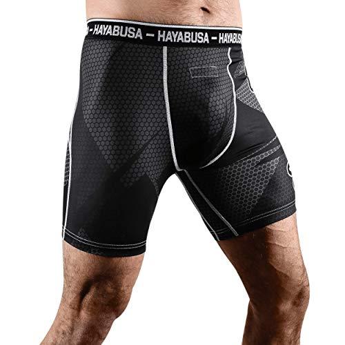 Hayabusa Metaru 47 Silver Compression Shorts, Black, Large