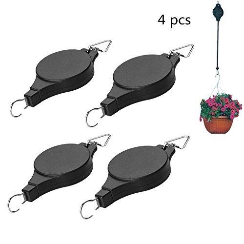 - 4Pcs Retractable Plant Pulley Adjustable Hanging Flower Basket Hook Hanger for Garden Baskets Pots and Birds Feeder Hanging Basket Indoor Outdoor Decoration