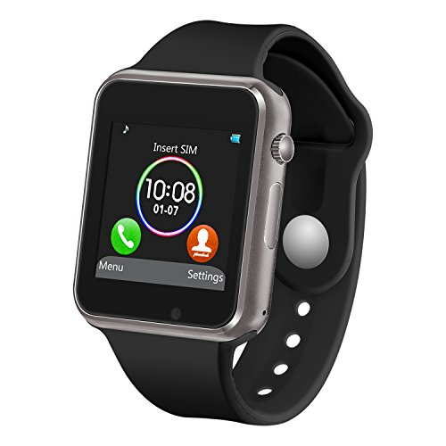 Smart Watch with Bluetooth Camera Music Player for iOS iPhone, Android Samsung HTC Sony LG Huawei Smartphones (Black)
