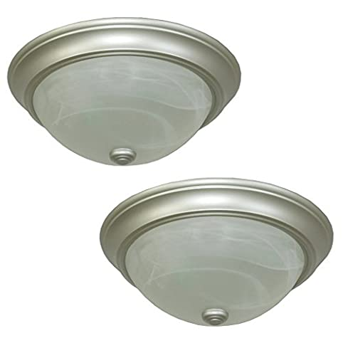 Project Source 13in W Satin Nickel Ceiling Flush Mount Lights 2