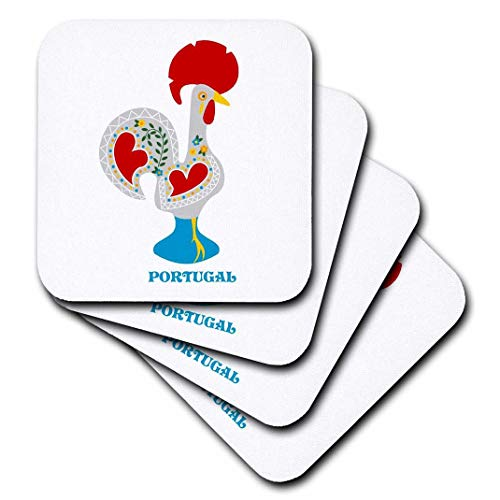 (3dRose cst_160671_3 The White Portuguese Rooster or Galo De Barcelo's-Ceramic Tile Coasters, Set of 4)
