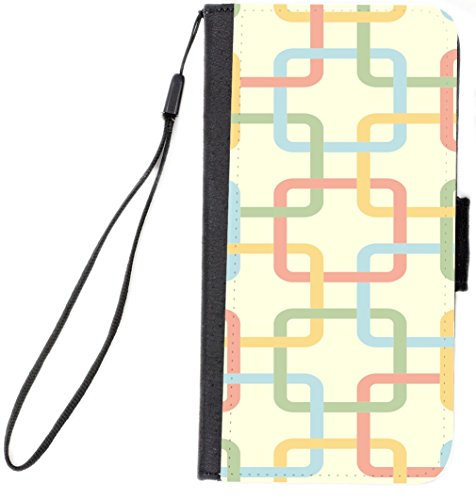 UKBK Interlink Pastel Square Chains Design Design Premium PU Leather Wallet Flip Case for iPhone Xs