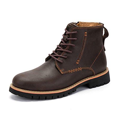 Mens Cowskin Martin Enkellaarsjes Lace Up Combat Boots Zijrits Winterschoen 8059 Donkerbruin
