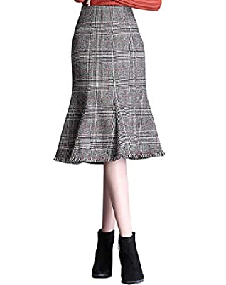Wincolor Women's Vintage High Waisted Plaid Checked Mermaid Fish Tail Midi Skirt with Tassel Hem