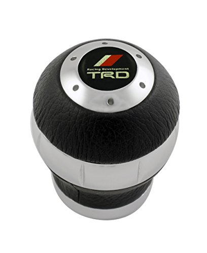 Toyota Celica Shift Knobs - 12x1.25mm Threaded TRD BLACK LEATHER and SILVER Billet Aluminum ROUND Ball Shift knob for Toyota Racing Development Camry Celica Corolla Scion xA xB tC Supra MR2 Matrix Paseo Echo Venza Yaris Avalon Solara Spyder Tercel Tiara 2000GT Tacoma Tundra 1970's TA22 TA23 TA27 TA28 RA21 RA23 RA28 RA29 THREADED (NO adapters) JDM Gear Shifter Selector