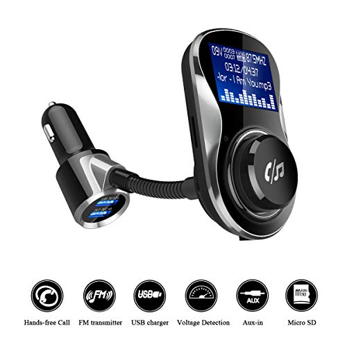 MODAR Wireless Car Bluetooth FM Transmitter Adapter Radio Receiver&Mp3 Music Stereo Adapter,Dual USB Port Charger Compatible for All Smartphones (Apple, Samsung, Xiaomi, Oppo,) (C26-Vehicle Charger)