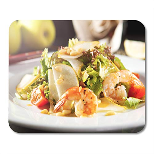 Semtomn Mouse Pad Green Grilled Shrimp and Pear Salad Pine Nut Dressing Mousepad 9.8