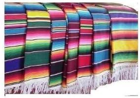 "Mexican Serape Saltillo Blanket Heavy Authentic Throw 26"" X 60"" Table Cloth, Curtain"