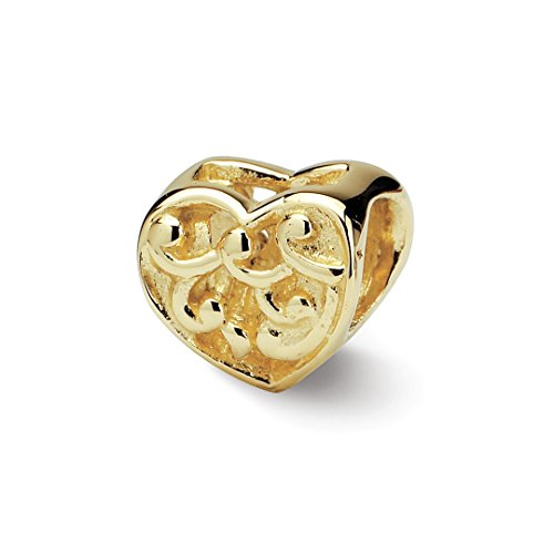 - 14k Yellow Gold Charm For Bracelet Scroll Heart Bead Love Fine Jewelry For Women Gift Set