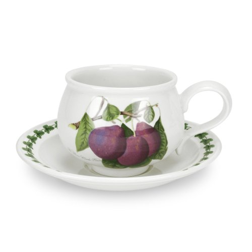 Portmeirion Pomona Earthenware (Portmeirion Pomona Romantic Shape Breakfast Cup and Saucer,  Set of 6 Assorted Motifs)