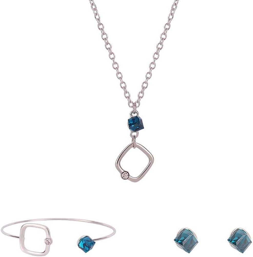 Conjunto de joyas de moda para mujer, conjunto de pendientes de aleación de piedras semipreciosas azules