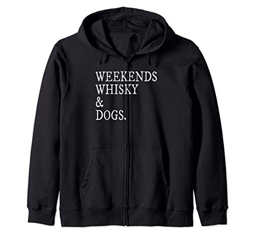 WEEKENDS WHISKY AND DOGS Shirt For Best Dad Dogs Funny Zip Hoodie (Bulldogs Long Lab Coat)