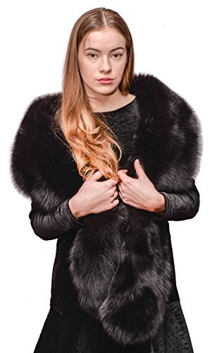 Saga Furs Jet Black Fox Fur Handmade Stole 70'' by Your Furrier