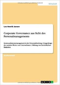 Book Corporate Governance aus Sicht des Personalmanagements