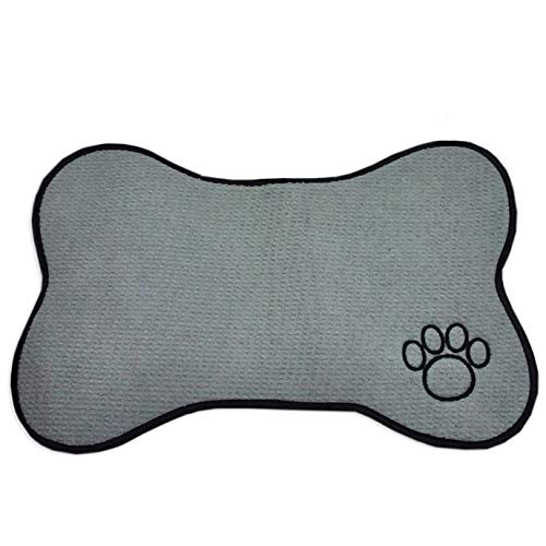 MattsGlobal Shop Bone Shape Pet Feeding Mat in Grey with Embroidered Paw Print - Features Soft, Strong & Flexible Microfiber Construction Foam Fill - PVC Non-Skid Mesh Backing - for Indoor Use Only