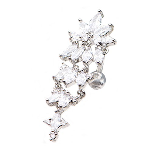 Multigem Crystal Cluster Reverse Top-Down Belly Button Ring