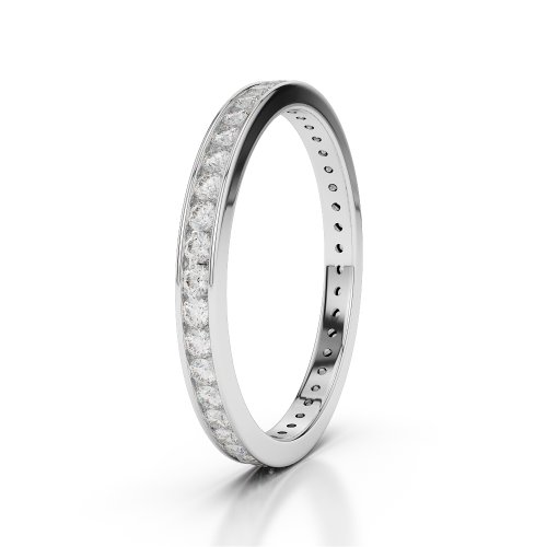 Or blanc 18 carats 1/2 ct G-H/VS sertie de diamants ronds Cut éternité Bague Agdr-1086