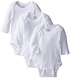 Gerber Unisex-Baby Newborn 3 Pack Longsleeve Onesie, White, Newborn