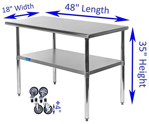 AmGood Stainless Steel Work Table - with Undershelf & Casters (Wheels) | Food Prep | Utility Work Station | NSF Certified | All Sizes (48'' Length X 18'' Width) by AmGood (Image #1)