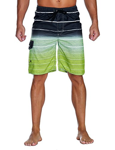 Nonwe Men's Beachwear Quick Dry Holiday Drawstring Striped Beach Shorts Sharp Green 36 ()