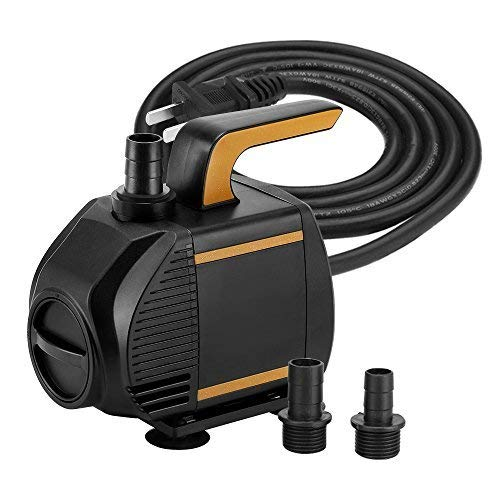 KEDSUM 620GPH Submersible Pump(2800L/H,55w),Ultra Quiet Water Pump with 7.5ft High Lift, Fountain Pump with 5 ft Power Cord, 3 Nozzles for Fish Tank , Pond , Aquarium, Statuary, Hydroponics