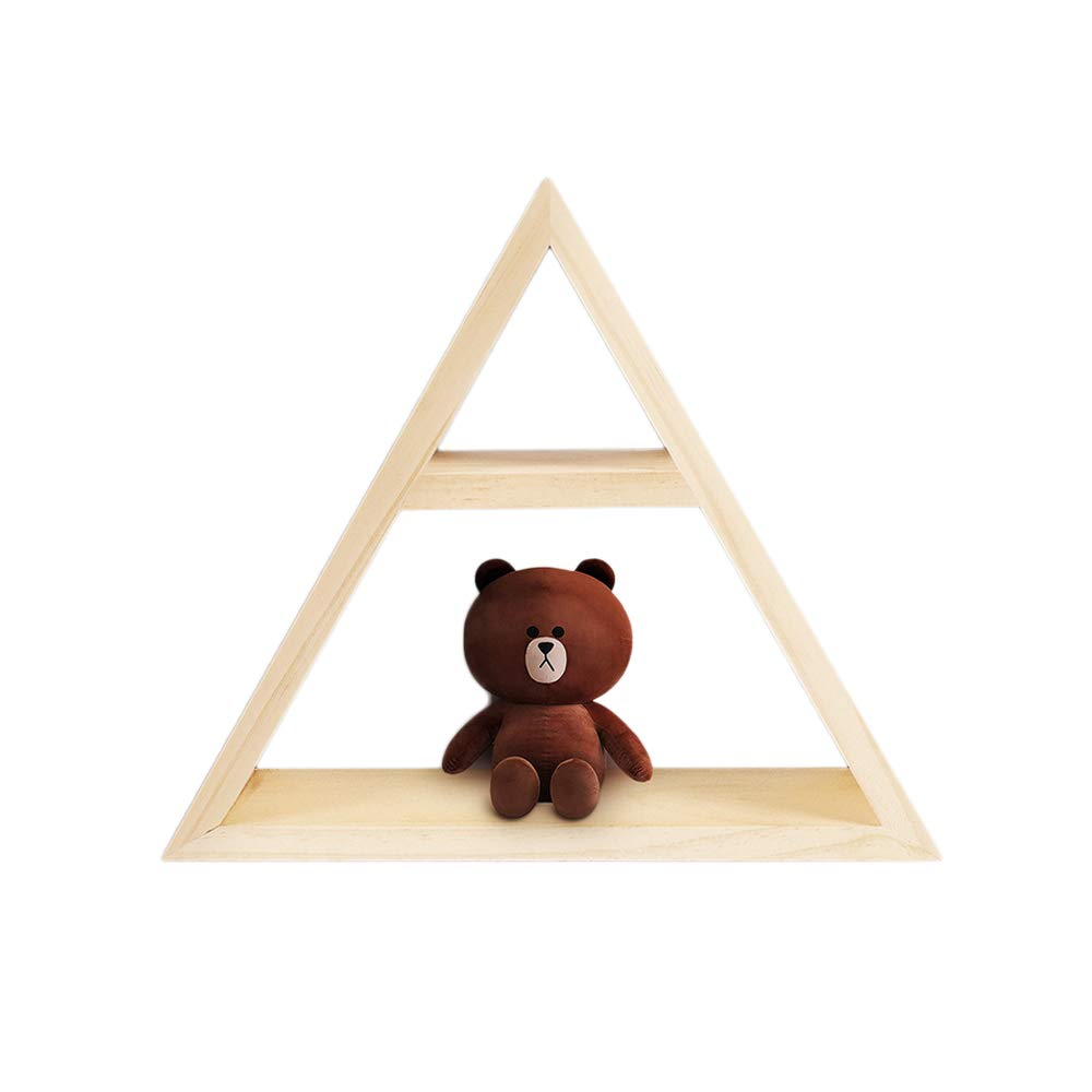 Wall Mounted Wood Shelves for Children's Room, Kid's Toys Wooden Wall Shelf, Triangular Nursery Room Decorative Wall Shelves (Hardwood2)