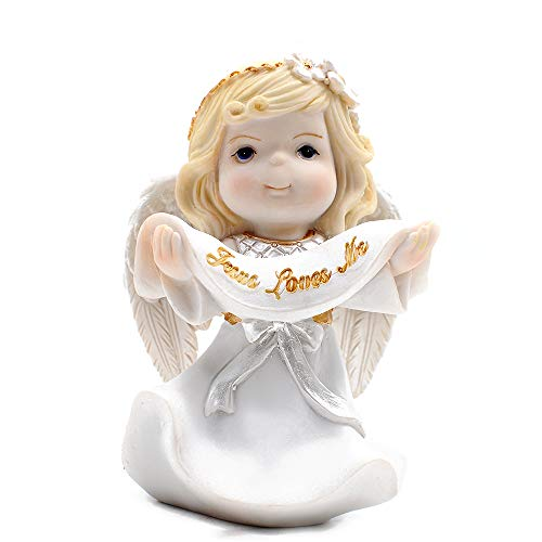 Resin Girl Angel Holding Banner Jesus Loves Me Figurine Keepsake My First Communion