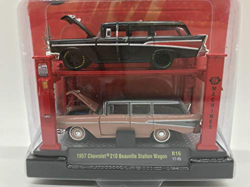 M2 Machines Auto-Lift 2 Pack 1957 Chevrolet 210 Beauville Station Wagon R16 17-05 Pink/Gray/Black Details Like NO Other! (Best Affordable Station Wagons)