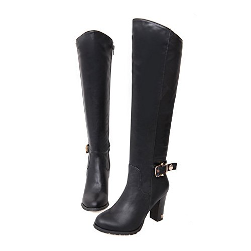Amoonyfashion Mujeres Cerrado Punta Redonda High Heels Solid Pu Short Plush Botas Con Botón De Cuero Negro