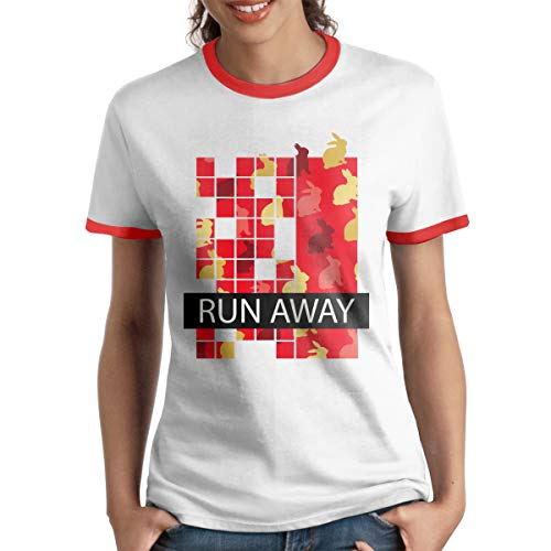 - HAIGUANGZ Custom Easter Bunny Butt Hurts What Run Away Ringer T Shirts Short Sleeve for Womens Red XL