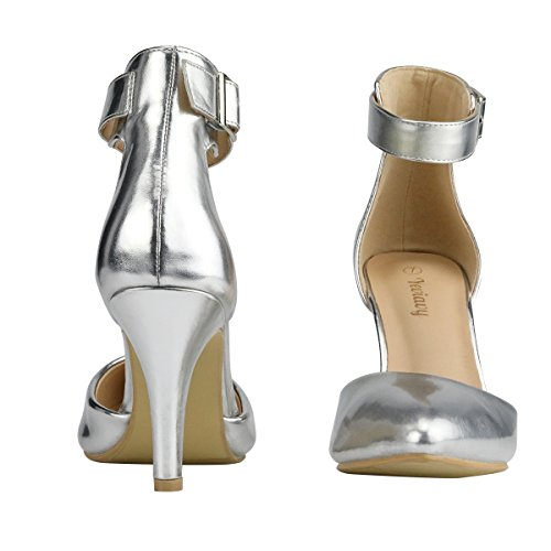 for Shoes Feet Strap Yeviavy Pointy Up High Women's Pumps D'orsay Wide Dress Ankle Heel Size Buckle Toed A Order Closure Metallic Stiletto Silver UOaUq