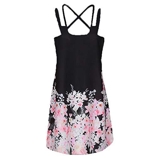 iQKA Women Boho Sleeveless Mini Dress Plus Size Short Dress Summer Vintage Printed Beach Dress Vestido