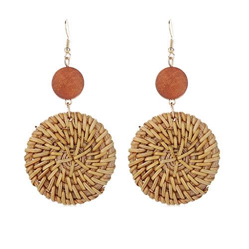 XBKPLO Rattan Earrings for Women's Boho Retro Handmade Straw Wicker Braid Drop Disc Dangle Geometry Lightweight Jewelry Statement Gifts