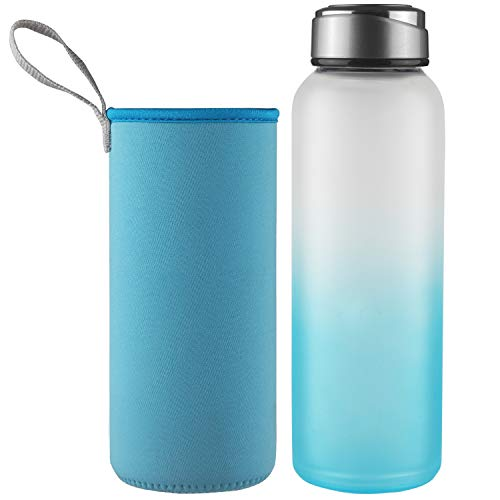 DEARRAY Sport Borosilicate Glass Water Bottle with Neoprene Sleeve and Stylish Stainless Steel Lid 32oz Blue (Borosilicate Glass Water Bottle With Stainless Steel Lid)