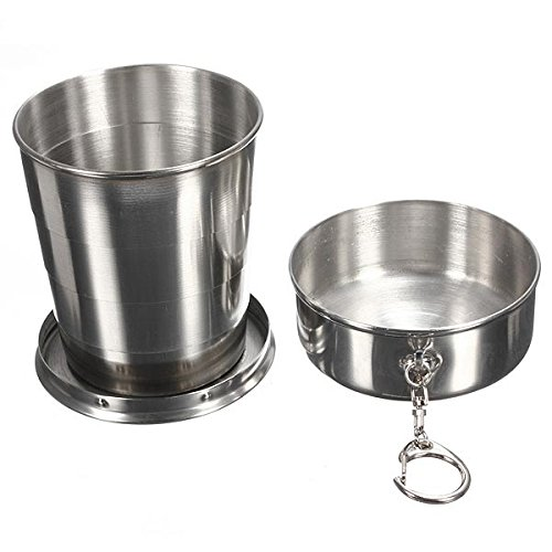 240ml 4oz Stainless Steel Portable Folding Telescopic Travel Cup by BephaMart