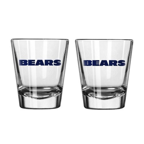 NFL Football Team Logo Satin Etch 2 oz. Shot Glasses | Collectible Shooter Glasses - Set of 2 - Chicago Bears Satin