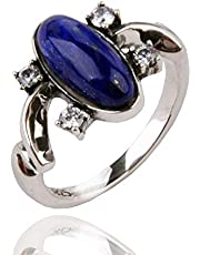 925 Silver Plated CZ Blue Stone Vampire Diaries Elena's Daylight Womens Band Ring,Size 6-8