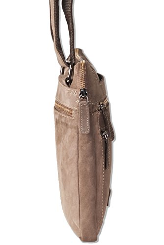 Woodland® Flache Umhängetasche aus geöltem Büffelleder im Vintage-Look/Braun Dunkelbraun/Taupe