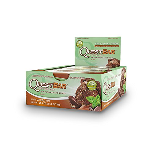 Quest Nutrition Proteina Bar, Mint Chocolate Chunk, 20g Proteina, 2.12oz Bar, 12 Unidades