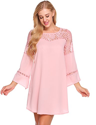 ACEVOG Women's 3/4 Sleeve Lace Patchwork Loose Casual Mini Chiffon Dress (Large, Pink)