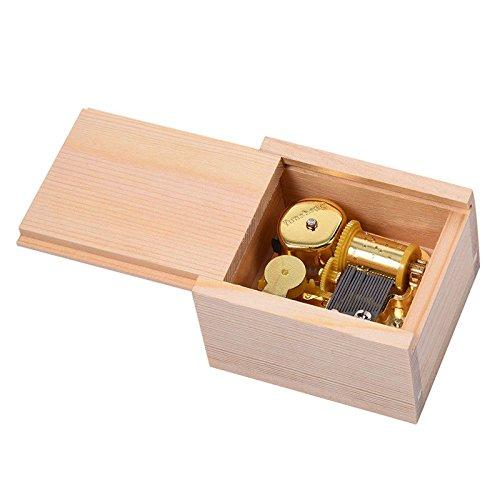 Gold Mini Music Box Wooden Square Mechanical Hand Crank DIY Music Box Movement