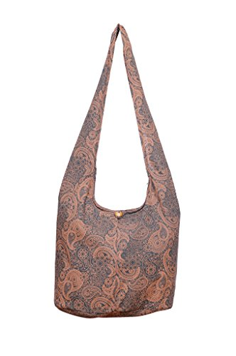 Avarada Cotton Small Hippie Hobo Sling Shoulder Bag Bohemian Bag Paisley Print Gray