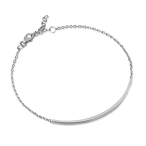 Bracelet Sterling Artisan Silver Link (925 Sterling Silver Single Horizontal Minimalist Bar Statement Bracelet, Adjustable 6.5 - 7.5 inches)