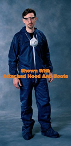 Radnor Large Blue Spunbond Polypropylene Disposable Coveralls With Front Zipper Closure