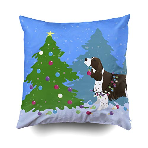 Musesh Brown Springer Spaniel Decorating Christmas Tree Cushions Case Throw Pillow Cover for Sofa Home Decorative Pillowslip Gift Ideas Household Pillowcase Zippered Pillow Covers 18X18Inch