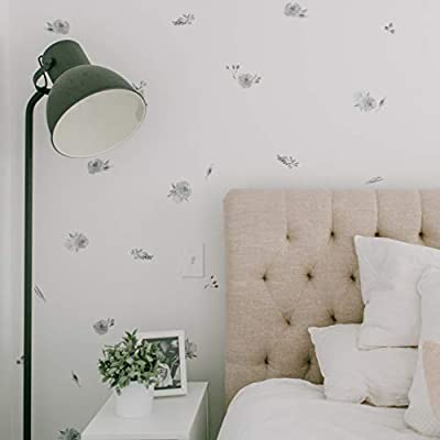 Modern Maxwell Wall Art Decals for Girls Nursery, Bedroom, Living Room Ava Black Floral Room Sticker Set 80 Pieces: Toys & Games