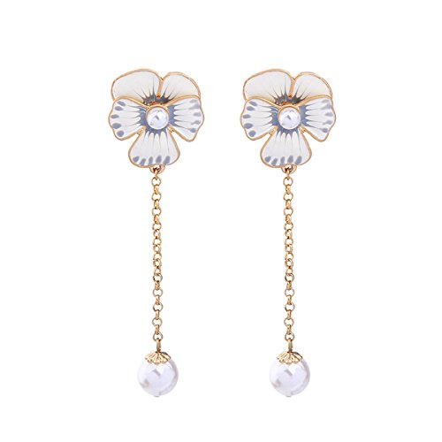 Elegant & Fashion Simulated Pearls White Enamel Flower Earrings Gold Color Long Chain Earrings for Women - Marina And The Diamonds Emoji Costume